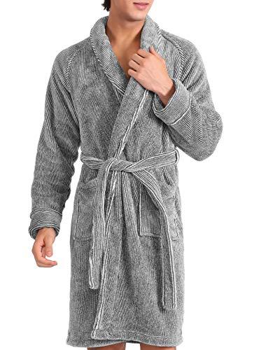 DAVID ARCHY Men's Fleece Robe Ultra Soft Plush Shawl Collar 3/4 Length Long Bathrobe (L, Heather Dark Gray Stripe)