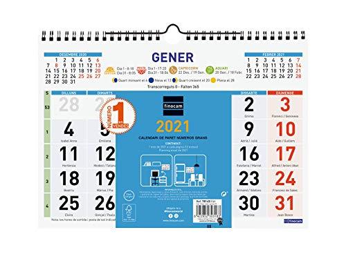 Finocam - Calendario de pared 2021 Números grandes Color Catalán