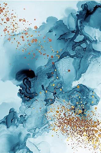 Moderne minimalistische abstrakte Leinwand Malerei Modular Blau Gold gedruckt Gold Wandbild 30X40CM