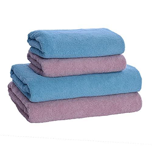 HOPS Juego de toallas de mano/toalla de mano/toalla de mano/toalla de mano/juego de toallas – toallas de mano de 50 x 100 / toallas de baño de 70 x 140 – toalla de ducha (turquesa – rosa