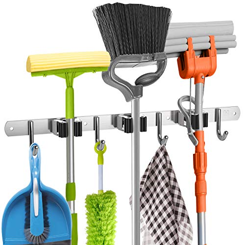 Mop and Broom Holder Wall Mount Heavy Duty - Metal Broom and Mop Holder Wall Mounted Storage - Broom Organizer for Kitchen Closet Garage Garden Tool - 3 Broom Hanger Positions with 4 Broom Rack Hooks