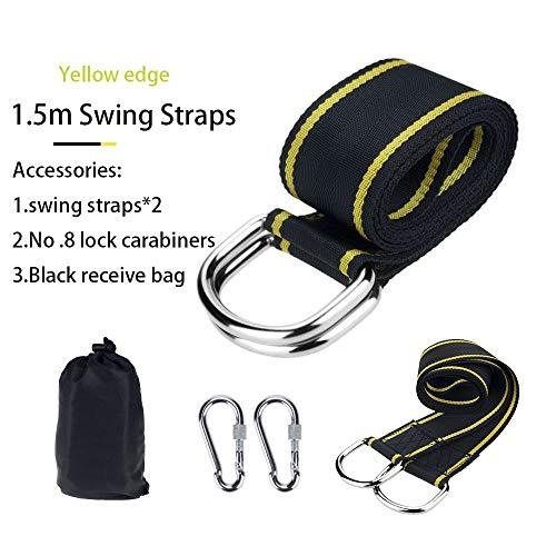 Exterior Kit de columpios de swing de árbol de trabajo pesado de 2 PCS al aire libre correas de hamaca ajustables con dos ganchos de carabiner para columpio, hamaca, ( Color : Black yellow edge )