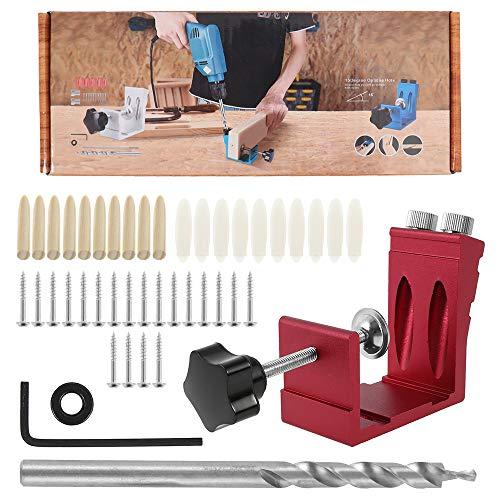 46Pcs Gabarit de trou de poche de travail du bois, Guide perçage bois, Gabarit de percage oblique avec pointes perceuse 15 °, Kit de foret à goujon pour travail du bois (Rouge)