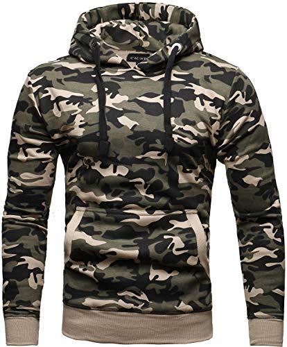 Crone Carlo Basic Herren Fleece-Hoodie Kapuzenpullover Sweatjacke aus 100% Baumwolle Vegan (L, Light Camouflage)