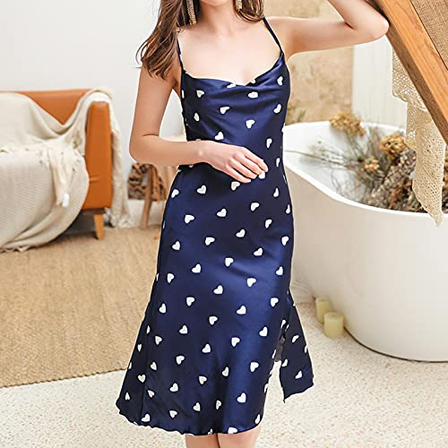 Astemdhj Camisón Sexy Pijamas Vestido De Noche De Satén De Seda Sexy para Mujer Camisones Sin Mangas Camisón De Punto De Onda Camisón Largo De Encaje Ropa De Dormir XXL Azul ⭐