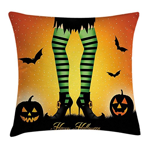 Halloween Decorations Throw Pillow Cushion Cover, Cartoon Witch Legs with Striped Leggings Western Concept Bats and Pumpkins, Decorative Square Accent Pillow Case, Multi 18x18 inches