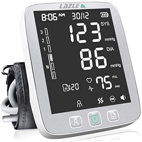LAZLE Blood Pressure Monitor - Automatic Upper Arm Machine & Accurate Adjustable Digital BP Cuff Kit - Largest Backlit Display - 200 Sets Memory, Includes Batteries, Carrying Case (Silver)