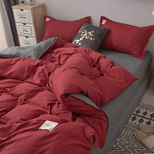 WYSTLDR Ins net roter einfarbiger Bettbezug, vierteiliges Set mit nordisch...