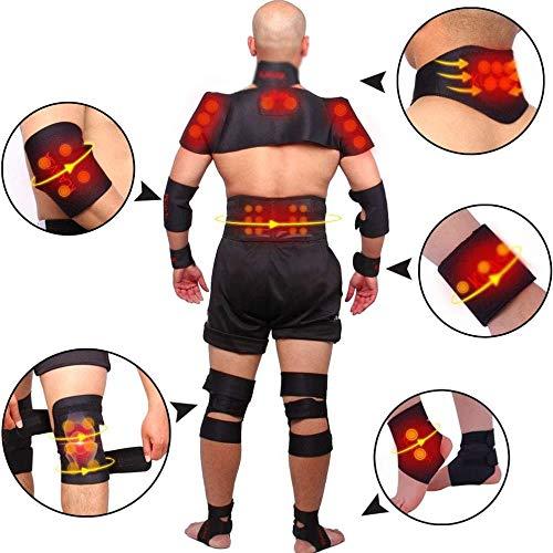 DLLY Schulterbandage Verstellbare Schulter Unterstützung Bandage, Lumbalen Rückengürtel Nacken Schulter Eigenerwärmung Magnetic Turmalin-Therapie,Black,M