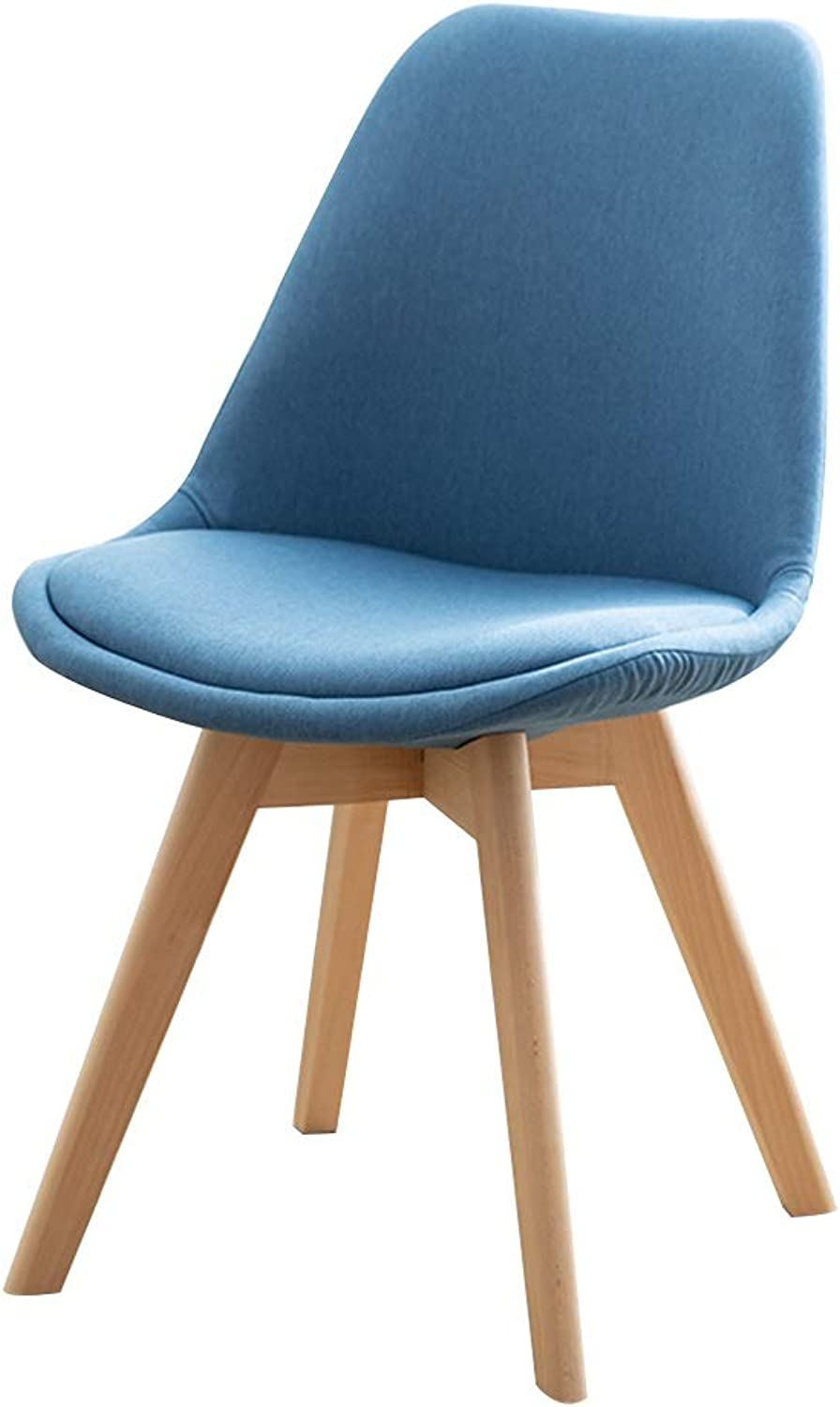 Chair Dining Chair, Solid Wood Tulip Conference Chair Modern Simplicity Office Chair Household Armchair Maximum Load  330 Lbs (color   Light bluee)