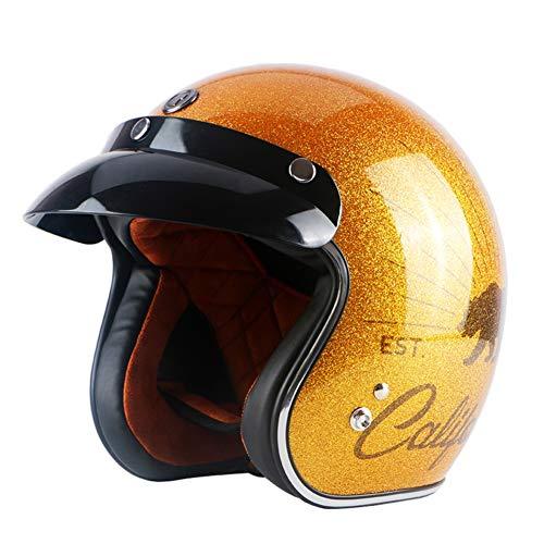 Yyou Offener Jethelm für Motorräder, Oldtimer Motorroller Pilot Cruiser Sturzhelm DOT-Zertifiziert,XL