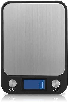 Slowton Balanza digital de alimentos, Capacidad de 22lb/10kg, báscula de cocina, pantalla LCD grande y diseño de plataforma de pesaje grande ultra delgado de acero inoxidable, función TARE escalas de peso para cocinar y hornear, 0,04 oz/1g (baterías no incluidas)