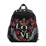Borsa Scuola Rosa Amore Swing Crown Prescolare Zaini Bambini Viaggio Daypack per Ragazzi Ragazze