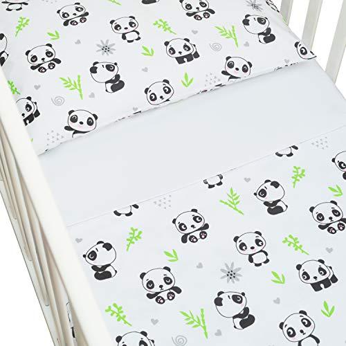 CangooCare© - Juego de sábanas de 3 piezas para cuna, ropa de cama, 60 x 120 cm, 100% algodón, sábana encimera, funda nórdica/saco doble cara,Panda