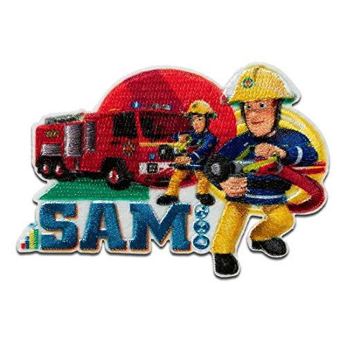 Feuerwehrmann Sam © Sam Jupiter Feuerwehrwagen Feuer löschen - Aufnäher, Bügelbild, Aufbügler, Applikationen, Patches, Flicken, zum aufbügeln, Größe: 5 x 7 cm