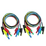 LKK-KK 10pcs 5 Colores 1M 4mm plátano for Cable de plomo de prueba de silicona suave for el enchufe de plátano del multímetro