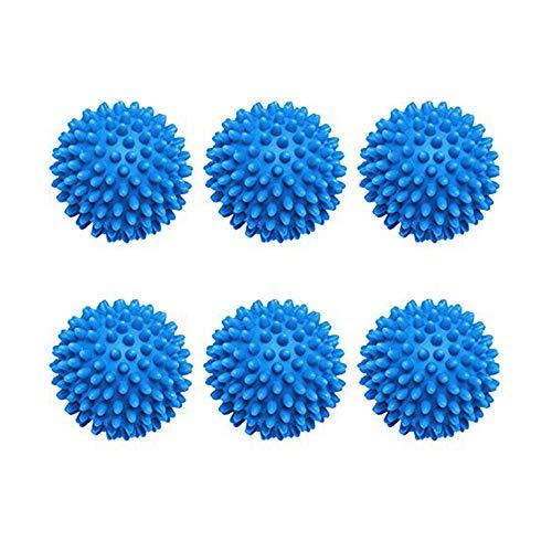 Bolas de Secadora de Lavadora Reutilizables Paquete de 6- Secadoras Ropa No Se Derrite, Ahorra Energía, Fácil de Usar, Una Ropa Más Suave! (Blue)