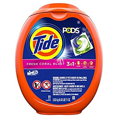 Tide Pods Liquid Detergent Pacs, Fresh Coral Blast, 81 Count