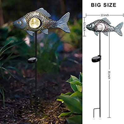 Kaixoxin Garden Solar Lights Metal Fish Crackle Glass Globe Stake Lights,Waterproof Warm White LED Solar Path Lights (Big Size,Sliver)