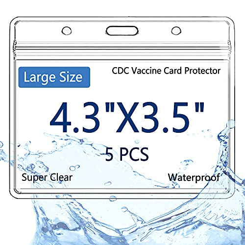 CDC Vaccine Card Protector Waterproof Covid Vaccination Card Holder Case 4x3 in 5 Pack Plastic Sleeves for Immunization Horizontal ID Name Tag Badge Holder Resealable Cover