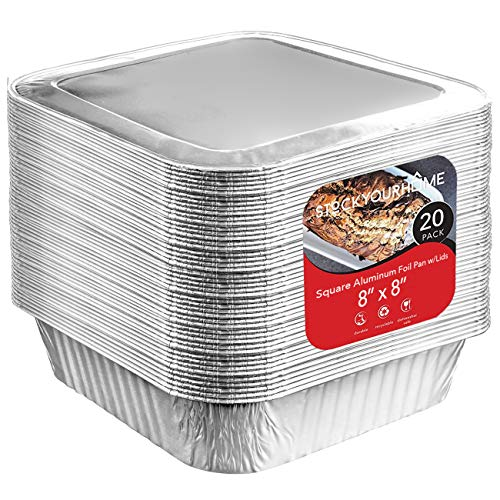 8x8 Foil Pans with Lids (20 Count) 8 Inch Square Aluminum Pans with Covers - Foil Pans and Foil Lids - Disposable Food Containers Great for Baking, Cooking, Heating, Storing, Prepping Food