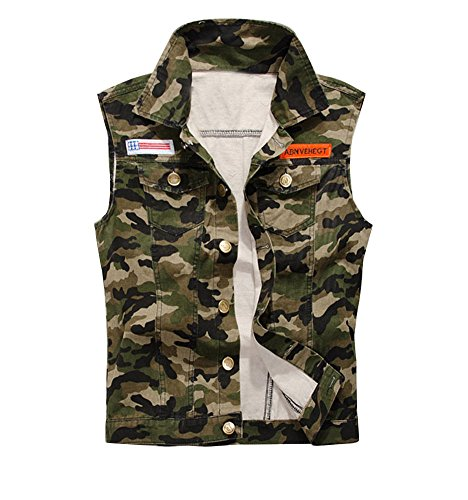 Guiran Herren Slim Fit Ärmellos Denim Jeans Jacke Camouflage Biker Jeansweste Armee-Grün 2XL