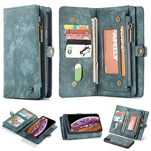 Kunyun For la Cubierta Protectora iPhone XS Billetera máximo, la Cubierta del tirón de Cuero, Cubierta de Billetera móvil Desmontable, magnético Fuerte se Puede Utilizar (Color : Azul)