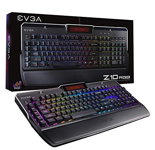 EVGA Z10 RGB Gaming Keyboard, RGB Backlit LED, Mechanical Brown Switches, Onboard LCD Display, Macro Gaming Keys