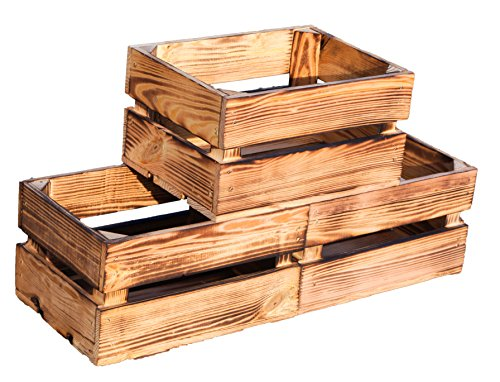 Kistenkolli Altes Land kleine geflammte Massive Obstkiste Frieda Maße ca 30x22x16cm Weinkiste Regalkiste Ablageregal (3er Set Frieda geflammt)