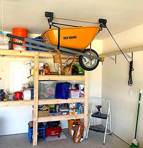 StoreYourBoard Wheelbarrow Ceiling Storage Hoist, Hi Lift Home and Garage Hanging Pulley Rack