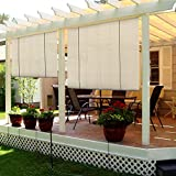 Sunshades Depot Exterior Roller Shade for Deck Porch Pergola Balcony Backyard Patio or Other Outdoor Spaces Blinds Light Filtering Block 90% UV Rays Beige Tan 4' x 6' (48'' x 72'')