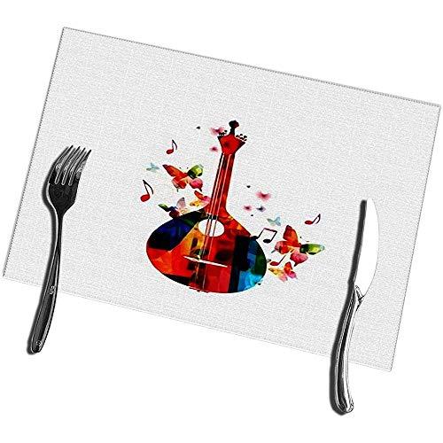 sunnee-shop placemat voor eettafel, 4 traditionele Portugese gitaren met vlinders