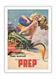 Pacifica Island Art - Glückliche Meerjungfrau - PREP Hautcreme - Retro Werbeplakat von Erasmo Ferrante c.1950s - Leinwand Kunstdruck - 69 x 102 cm