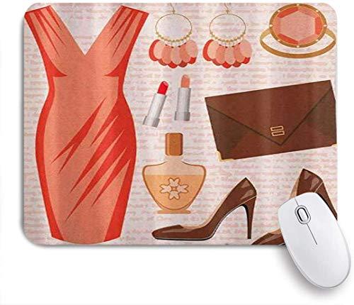 Dekoratives Gaming-Mauspad,Kleider Mode Cocktailkleid Lippenstift Ohrringe High Heels Parfüm,Bürocomputer-Mausmatte mit rutschfester Gummibasis