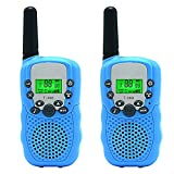 Aphse Kids Walkie Talkie Wireless Two Ways Radio Toy T-388 3 Miles Range 22 Channels Built in Flash Light FRS GMRS Birthday Gift Mini Walkie Talkie for Outdoor Adventures Camping Hiking Set of 2
