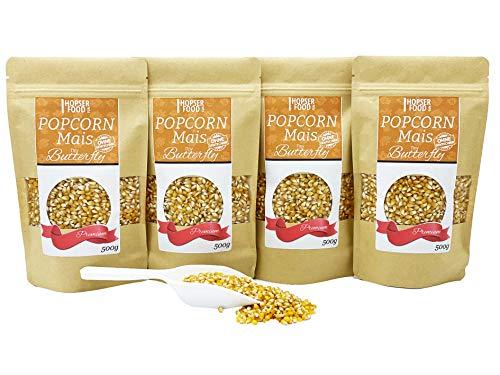 Popcorn Mais Tiny Butterfly 4 x 500g inkl. Dosierschaufel   Kinopopcorn für Popcornmaschine   winzige zarte Popcorn Flocken