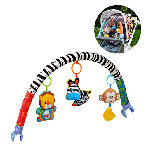 Baby Travel Play Arch for Pram Stroller, Adjustable Activity Animal Toys Arch with Rattle Lions BB Squeaker Zebra Rattles Monkey with Teether, Fit Most Crib/Stroller/Car Seat/Bassinet