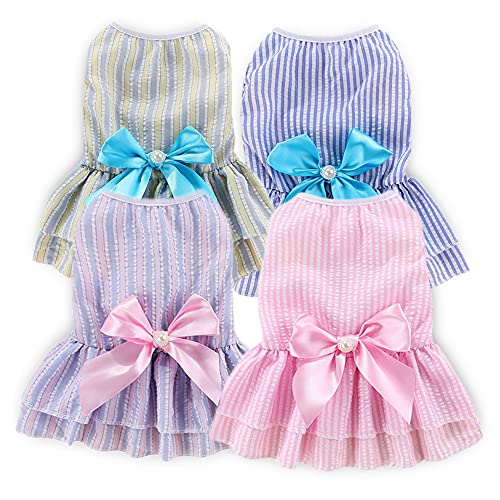 Dog Dresses for Small Dogs Girl Puppy Dress Pet Dress 4 Pack Sebaoyu - Dog Clothes Outfit Apparel Female Cute Cat Skirt Pup Tutu Pink Yorkie Clothing for French Bulldog Chihuahua (XS)