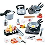 IQ Toys Pots and Pans Complete Kitchen Play Set for Kids Pretend Play- 33 Piece Set with Cooktop, Oven, Griddle, Utensils and Pretend Food