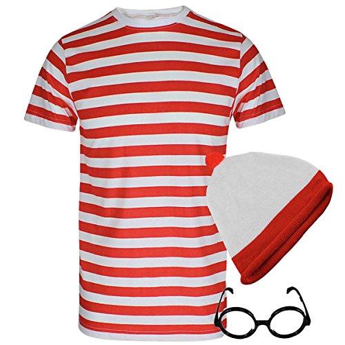 Islander Fashions Camiseta de Manga Corta con Rayas Rojas y Blancas Para Hombre Adultos Fiesta de Lujo con Gafas Sombrero con Copa Peque�a