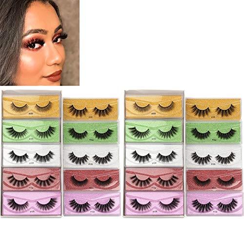 Heroicn Faux Mink Eyelashes 20 Pairs 10 Styles Mixed Fluffy Natural Fake Lashes Bulk 3D Faux Mink Wispy Eyelashes Pack with 20 Glitter Portable Eyelash Boxes
