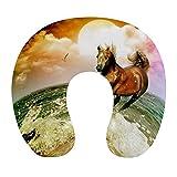 Almohada de Viaje de Espuma viscoelástica Suave, Almohada para el Cuello en Forma de U con Funda Lavable Que soporta el Cuello y Libera el Dolor, Sea Sun Running Wild Horse Art