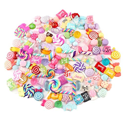 PiniceCore 30pcs/Bag Slime Charms Cute Set Mixed Assorted Candy Resin Flatback Slime Beads Making Supplies for DIY Craft Making and Ornament Scrapbooking