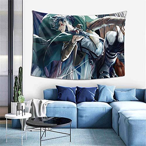 At-ta-ck O-n T-itan L-evi Tapisserie Anime Wandbehang Kunst Hintergründe für Schlafzimmer Wohnzimmer Sofa Zimmer Geschenk Poster Wohnheim Ästhetische Dekoration 152,4 x 101,6 cm