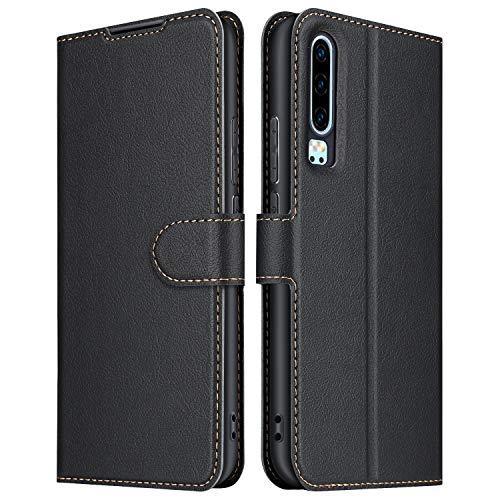 ELESNOW Hülle für Huawei P30, Premium Leder Flip Wallet Schutzhülle Tasche Handyhülle für Huawei P30 (Schwarz)
