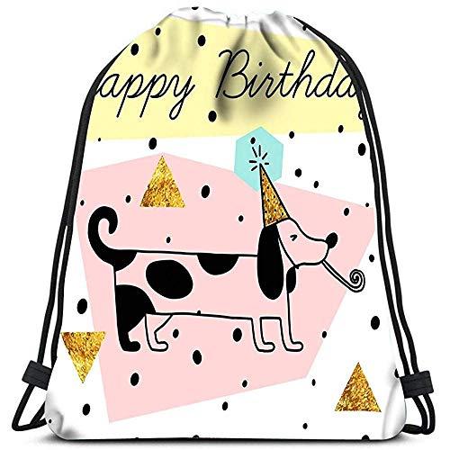 Kordelzug Rucksack Postkarte Alles Gute zum Geburtstag Weiß Mit Gold Glitter Nette Auto Wäschesack Gym Yoga Bag