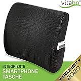 Vitabo ergonomisch geformtes Rückenkissen mit Memory-Funktion| gewölbtes Lendenwirbel-Kissen mit Gurt und Handytasche (Schwarz)