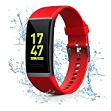 Kirlor Fitness Tracker, Waterproof Color Screen Smart Bracelet with Heart Rate Blood Pressure Monitor,Smart Watch Pedometer Activity Tracker Bluetooth for Android & iOS (Red)
