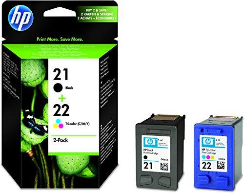 HP Cartucho de tinta, 21 + 22, SD367AE, original, negro/3color, 190/165 páginas (2 unidades), recibirás 1 paquete de 2 unidades