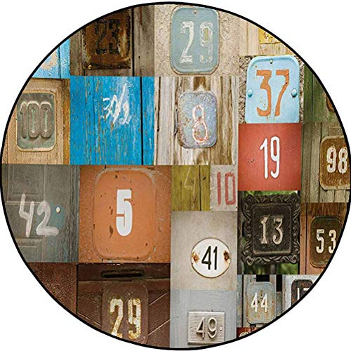 Modern Polyester Chic Area Rug Anti-Skid Area Rug Dining Room Carpet Rusty Apartment Placards Nostalgic with Once Upon A Time Themed House Door Number Plates Multi 6.5 ft in Diameter